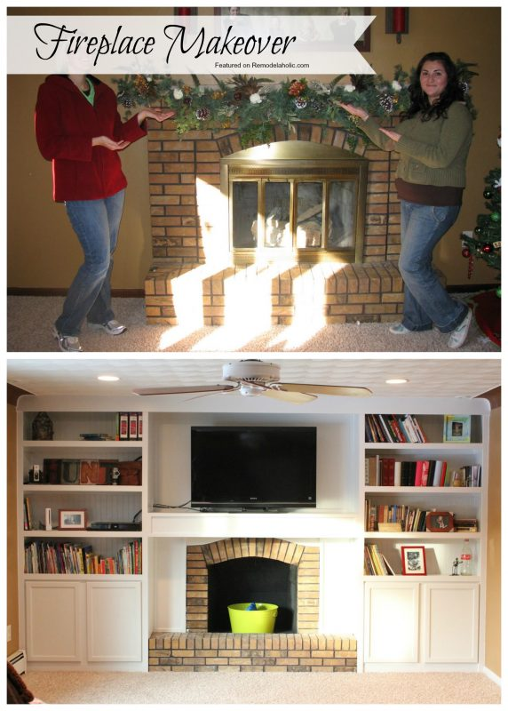 Fireplace Makeover, Adding Built ins using stock cabinets as the base