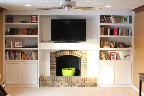 built in bookshelves plans around fireplace