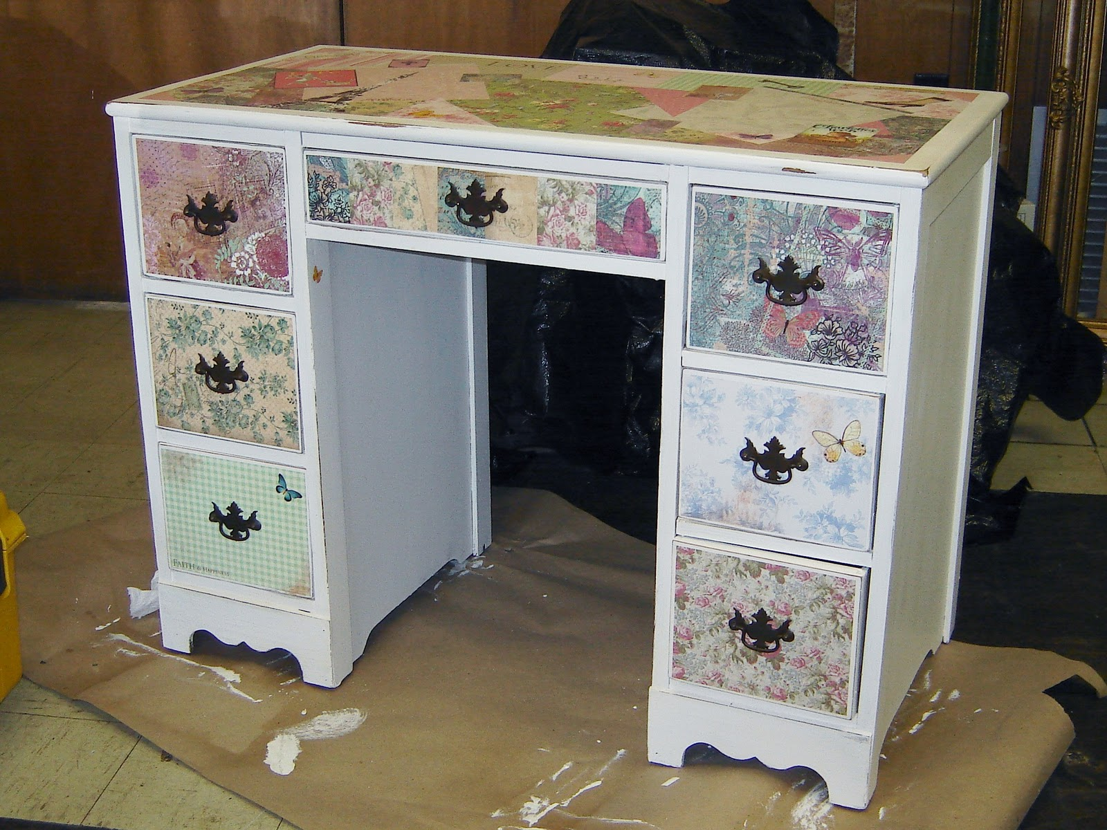 Little Girls Modpodged and Antiqued Desk