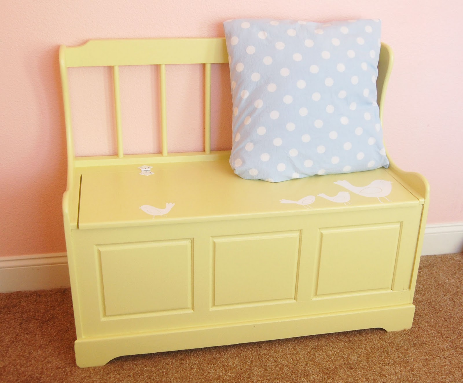 kids toy box refinished painted toy box trunk bench
