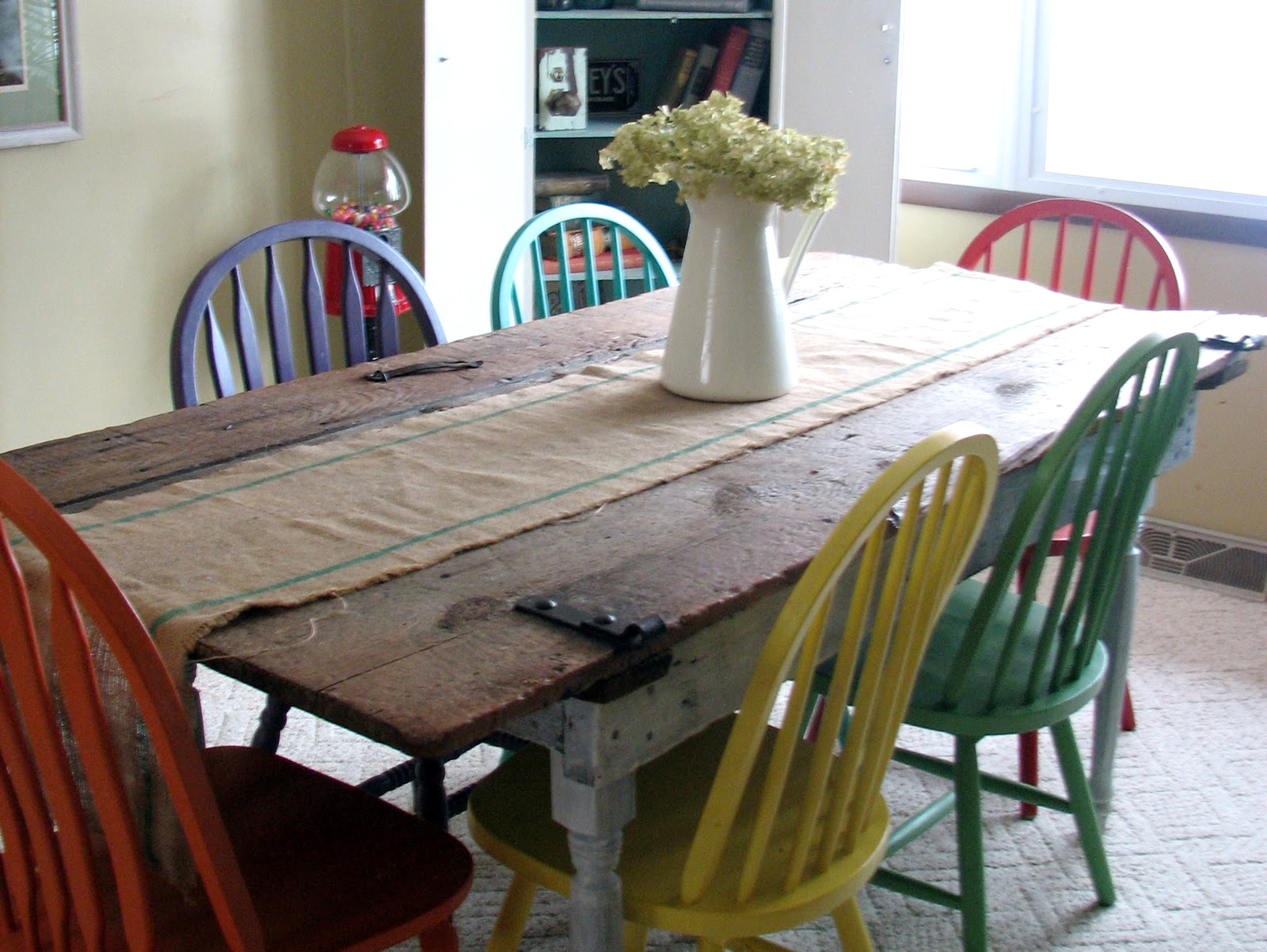 old barn door to dining room table