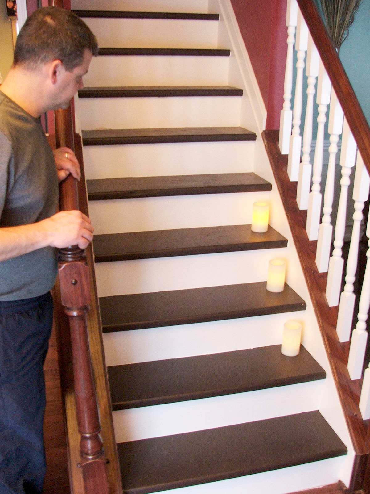 Remodelaholic under 100 carpeted stair to wooden tread - Interior stair treads and risers ...