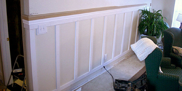 Living Room Update 4; Installing Wainscoting and Column Moldings