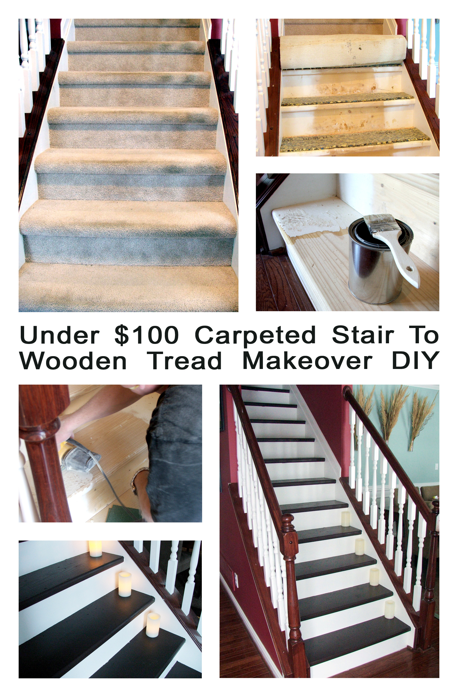Under $100 Carpeted Stair To Wooden tread makeover DIY copy