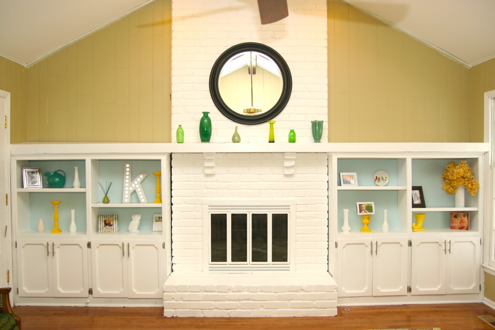 Dramatic results! White Painted Brick Fireplace!