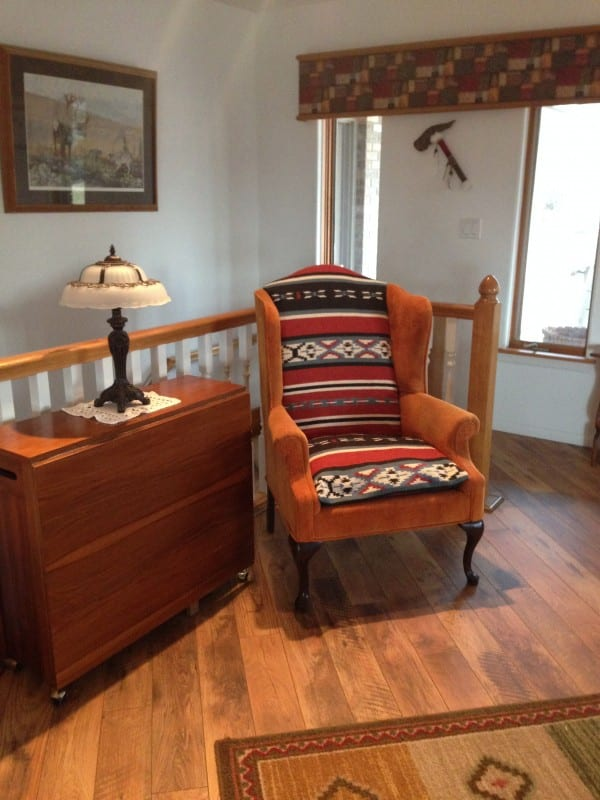 DIY Reupholstered Chair Using Southwest Navajo Blanket, Featured On @Remodelaholic