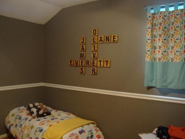 DIY scrabble letter tiles kids room wall names OhThe Hubanity