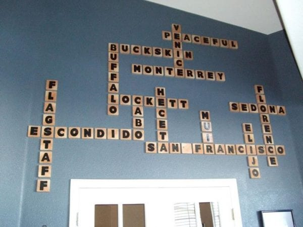 DIY scrabble letter tiles vacation geography wall art for large tall wall by reader Malinda, tutorial from @Remodelaholic