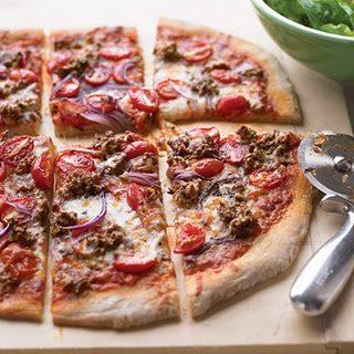 Hamburger and Grape-Tomato Pizza Recipe