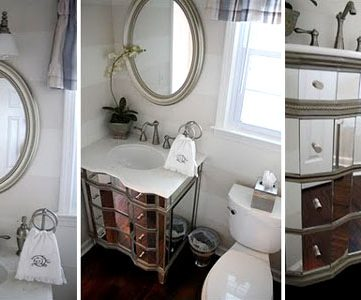 Updated Powder Room With Fancy Mirrored Vanity