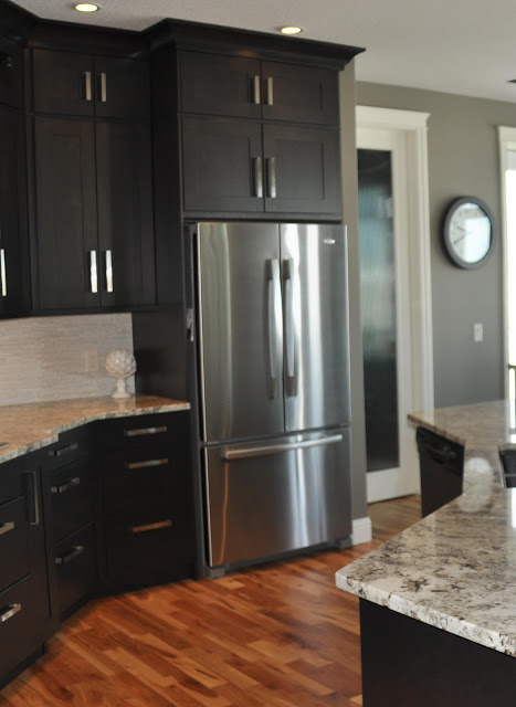 Remodelaholic fabulous kitchen design with black cabinets for Grey floor black cabinets