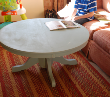 Pedestal Style Kitchen Table, Cut Up And Turned Into A Coffee Table.