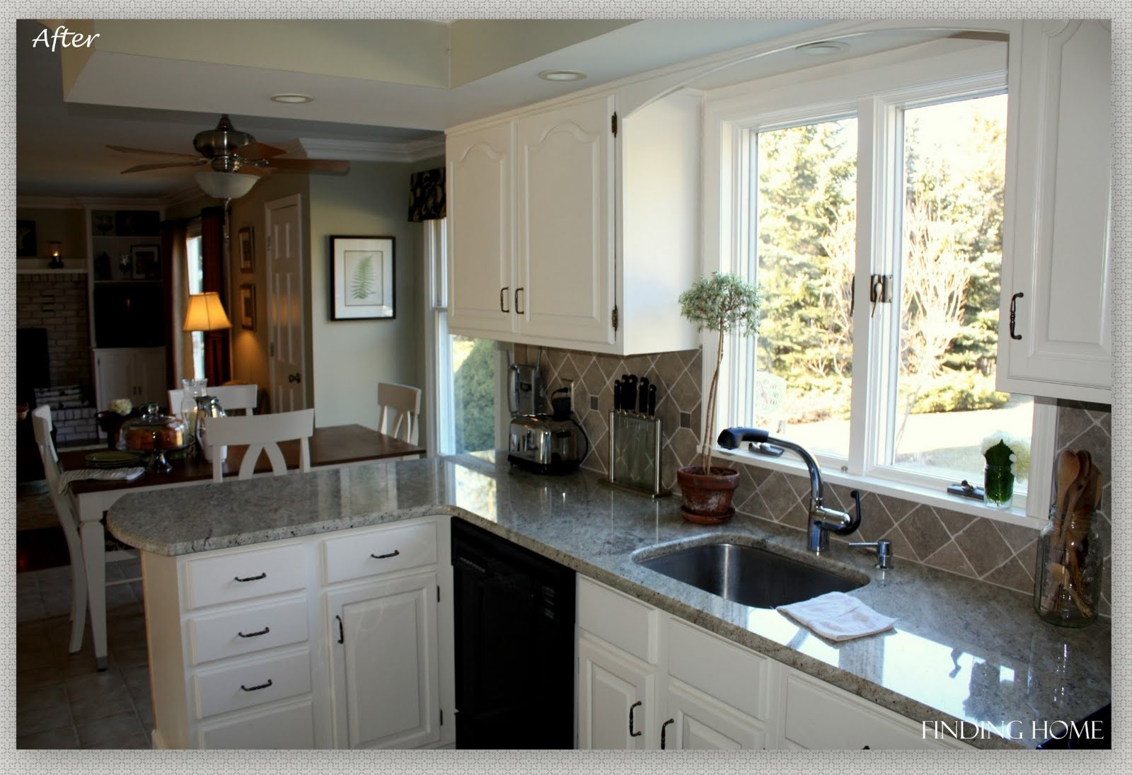 Remodelaholic from oak to beautiful white kitchen cabinets for White oak cabinets kitchen