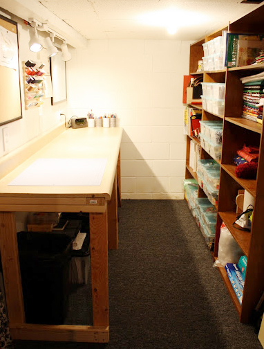 Crafting space from basement storage room
