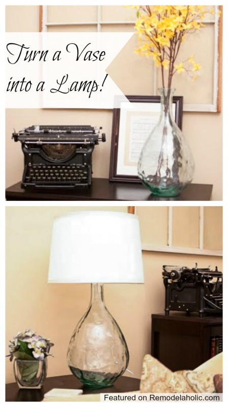 Remodelaholic | Turning a Glass Vase Into a Lamp Tutorial