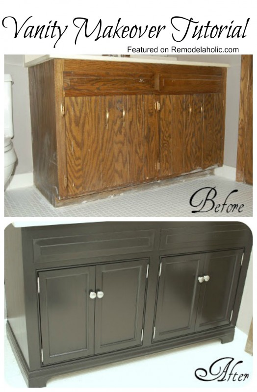 How To Update Bathroom Cabinets Remodelaholic  Updating A Bathroom Vanity