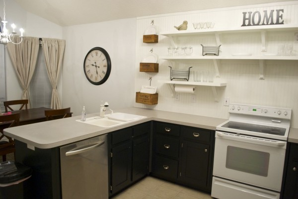 Great Kitchen Remodel Black Base Cabinets Bead Baord Backsplash Open Shelves  Dining Room Makeover (2)