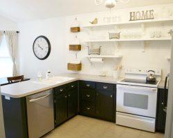 kitchen remodel black base cabinets bead baord backsplash open shelves dining room makeover (9)
