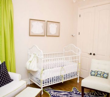 Beautiful Green, Navy And White Nursery Design