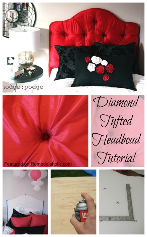 HOW to make a Diamond Tufted Headboard Tutorial Featured on Remodelaholic