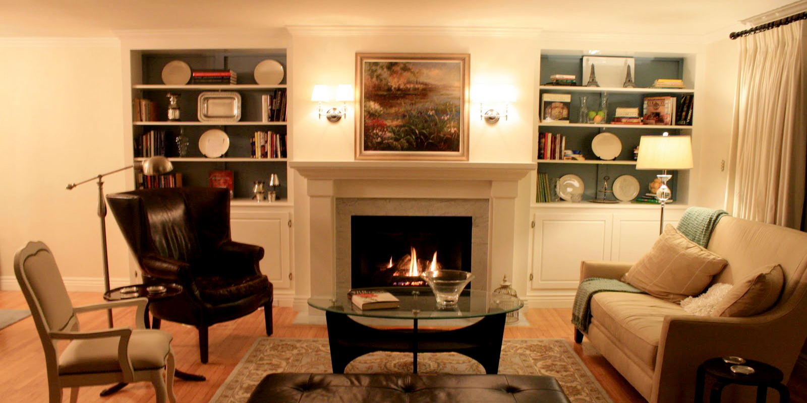 Living Room Remodel, Adding a Fireplace and Built in Bookshelves (15) featured image