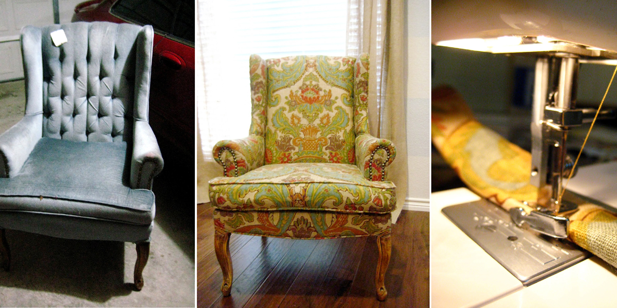 before and after tips to recover a wingback chair copy
