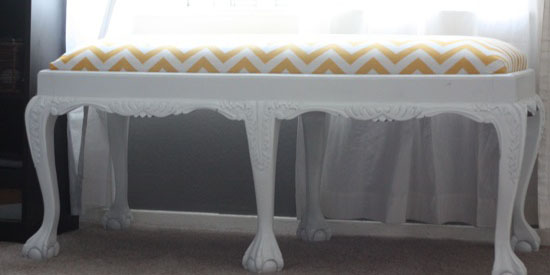 updated bench with yellow chevron stripes