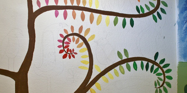 leafy treetops mural