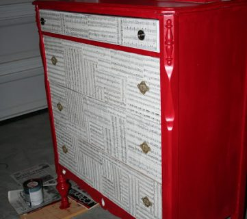 Red Dresser Makeover With Sheet Music Drawer Fronts