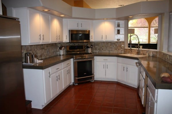 29 DIY Concrete Countertops And New Backsplash In Kitchen Makeover, By Design Stocker Featured On @Remodelaholic