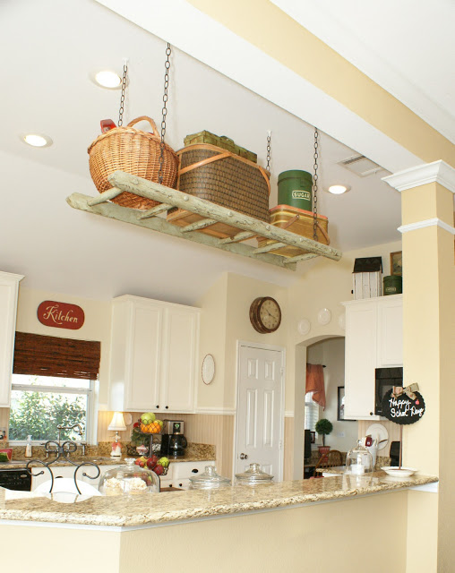 Easy Ladder Decor Ideas: Hang a Ladder for Overhead Kitchen Storage