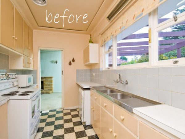 Remodelaholic classically beautiful galley kitchen for Small galley kitchen remodel before and after