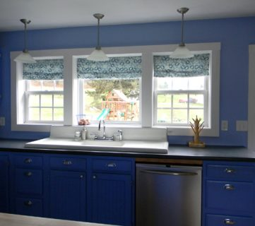 periwinkle painted kitchen