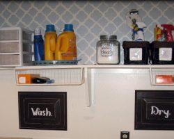 laundry closet redo stencil wall remodelaholic.com (600x300)