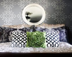 master bedroom with stenciled walls