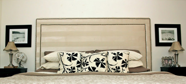 Remodelaholic | Upholstered Nail Head Trim Headboard Tutorial