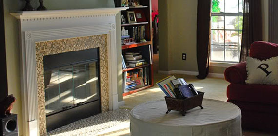 Remodelaholic Fireplace Update Mosaic Tiles