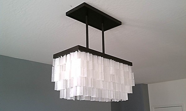 how to diy faux capiz chandelier