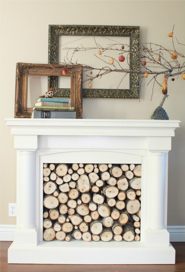 Remodelaholic repurposed faux fireplace mantel Fireplace ideas no fire