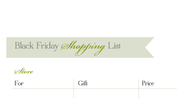 Black Friday Shopping List Free Printable