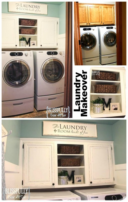 Laundry makeover, remove door add baskets