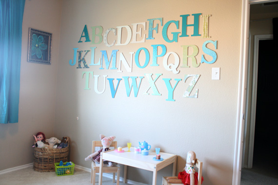 Remodelaholic learning her letters alphabet art for Wall letters kids room