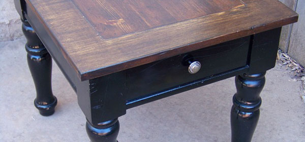 black-end-table-with-stained-wood-top