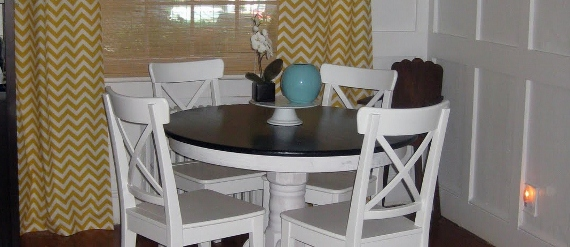 remodelaholic-remodeling-dining-room-yellow-curtains-white-wainscoting-chairs (570x247)