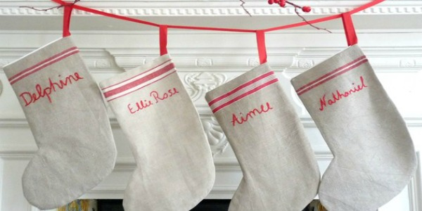 Hand embroidered Christmas stockings made from vintage linens