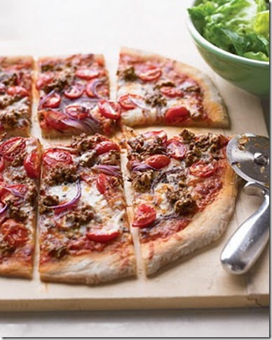 Hamburger and grape tomatoe pizza by martha