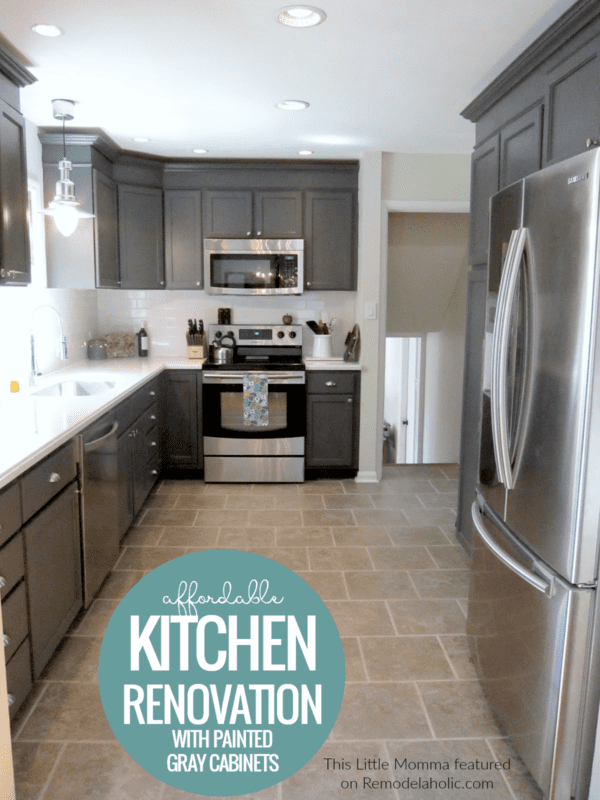 Kitchen Renovation On A Budget With Painted Charcoal Gray Kitchen Cabinets #remodelaholic
