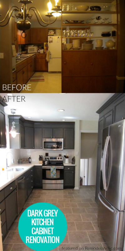 Painted Dark Grey Kitchen Cabinet Renovation, Featured On Remodelaholic