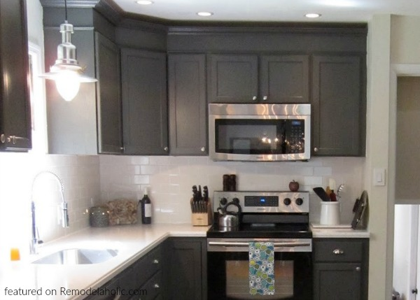 Updated Kitchen Renovation With Charcoal Dark Gray Kitchen Cabinets In Peppercorn White Countertops And Stainless Steel Appliances, Featured On Remodelaholic