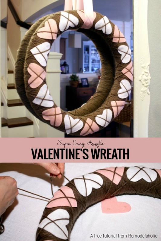 DIY Argyle Valentines Wreath from Remodelaholic